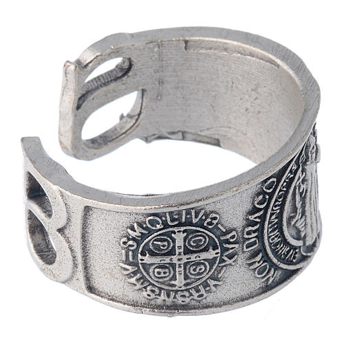 Zamak ring with Saint Benedict image 3