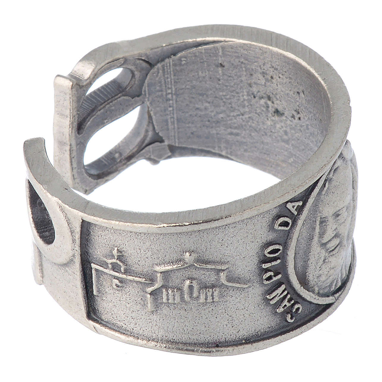 Zamak ring with Our Lady of Lourdes image 3