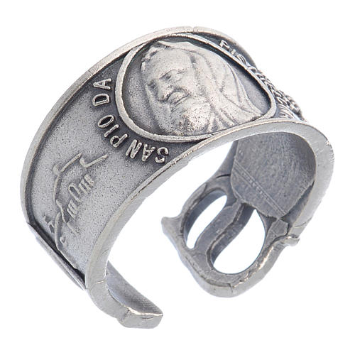 Zamak ring with Our Lady of Lourdes image 1