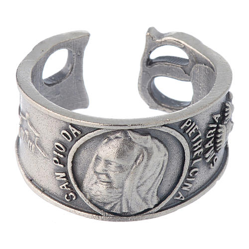 Zamak ring with Our Lady of Lourdes image 2