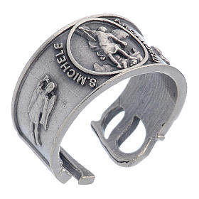 Zamak ring with Saint Michael image s1