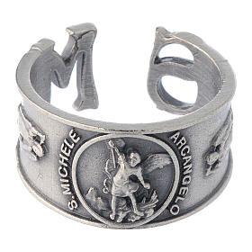 Zamak ring with Saint Michael image s2