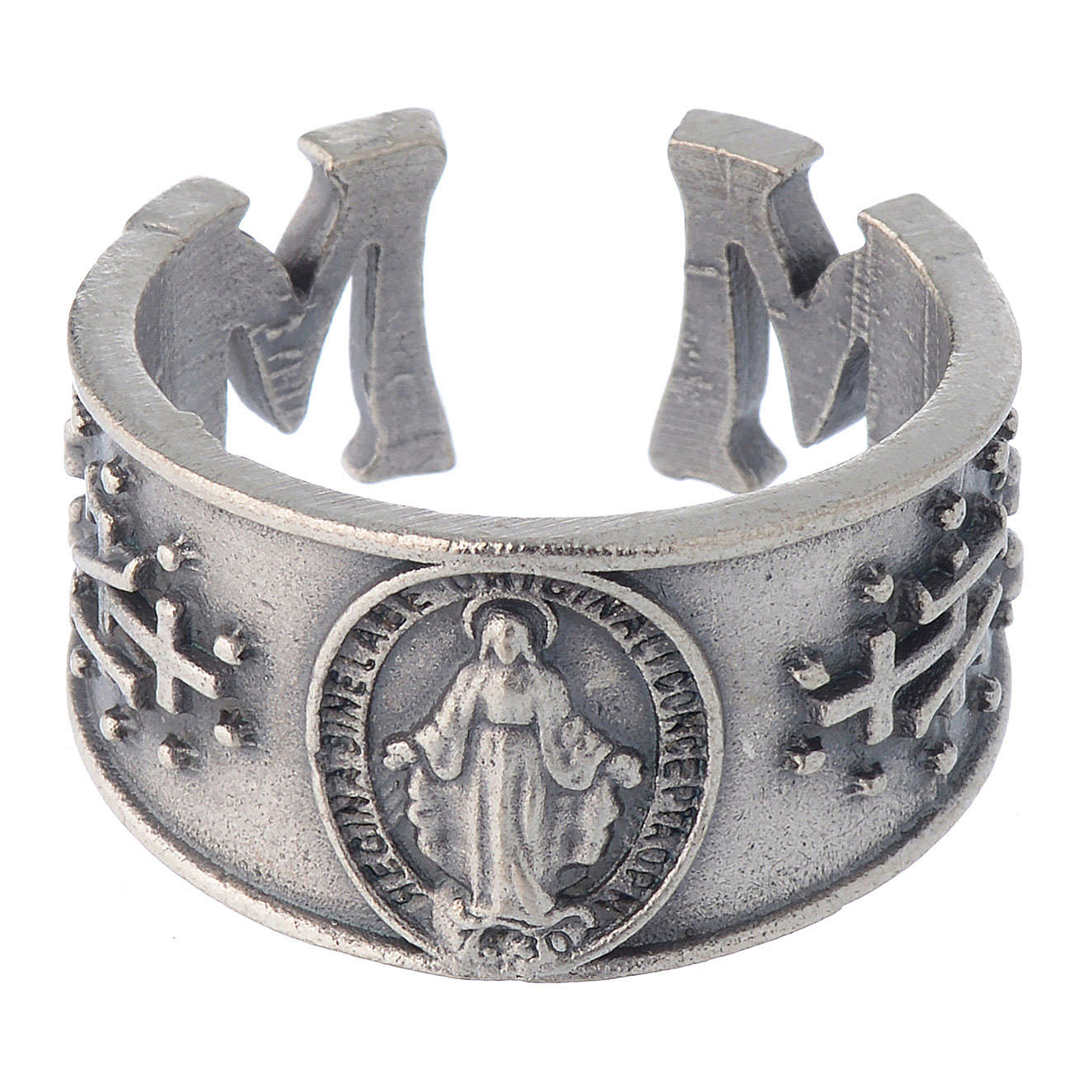 Zamak burnished ring with Miraculous Medal 3