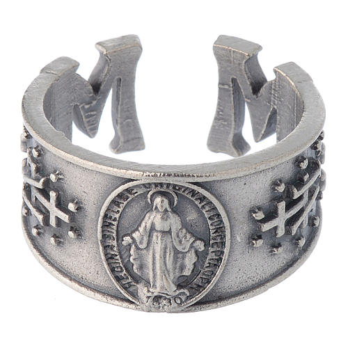 Zamak burnished ring with Miraculous Medal 2