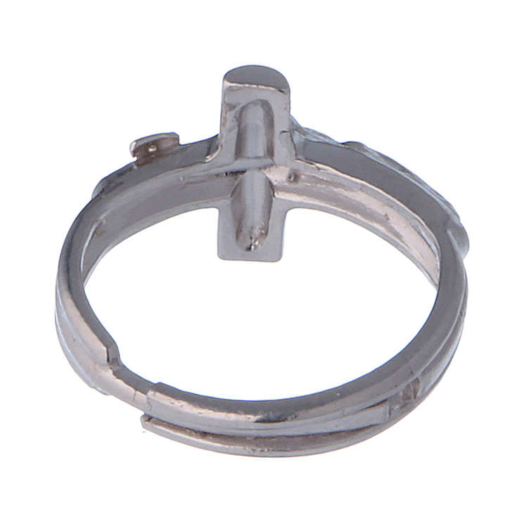 Sterling silver adjustable ring with crucifix 3