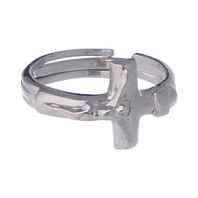 Sterling silver adjustable ring with crucifix s2