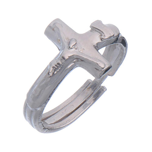Sterling silver adjustable ring with crucifix 1