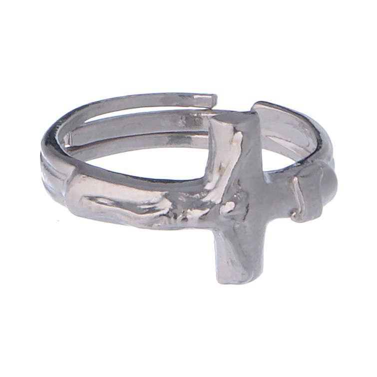Anello regolabile in argento 925 con croce 3