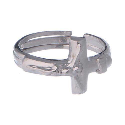 Anel regulável em prata 925 com cruz 2