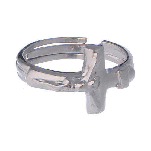 Sterling silver adjustable ring with crucifix 2