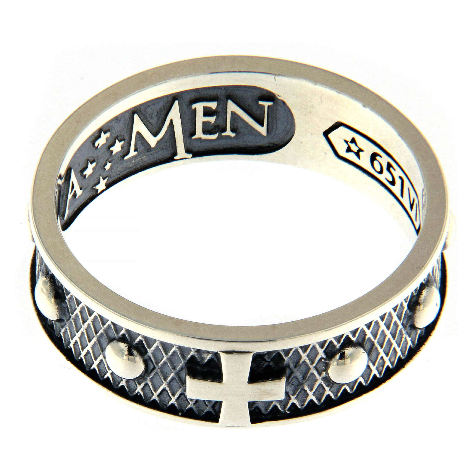 Sterling silver AMEN ring burnished finishing 3