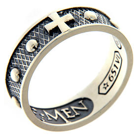 Sterling silver AMEN ring burnished finishing s1