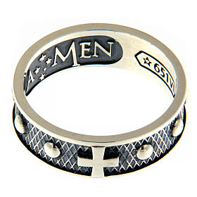 Sterling silver AMEN ring burnished finishing s2
