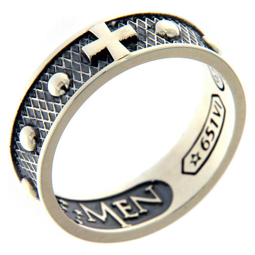 Sterling silver AMEN ring burnished finishing 1