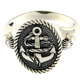AMEN ring in burnished 925 silver with anchor and Sacred Heart s2