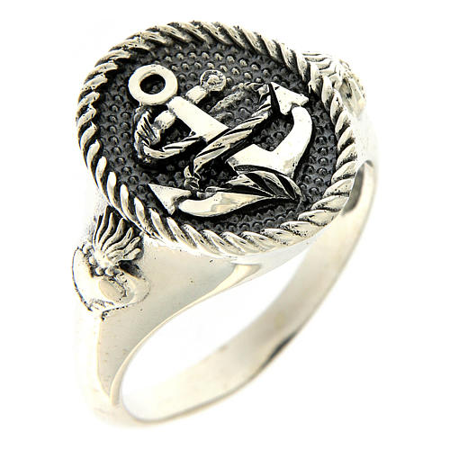 AMEN ring in burnished 925 silver with anchor and Sacred Heart 1