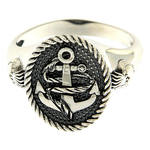 AMEN ring in burnished 925 silver with anchor and Sacred Heart 2