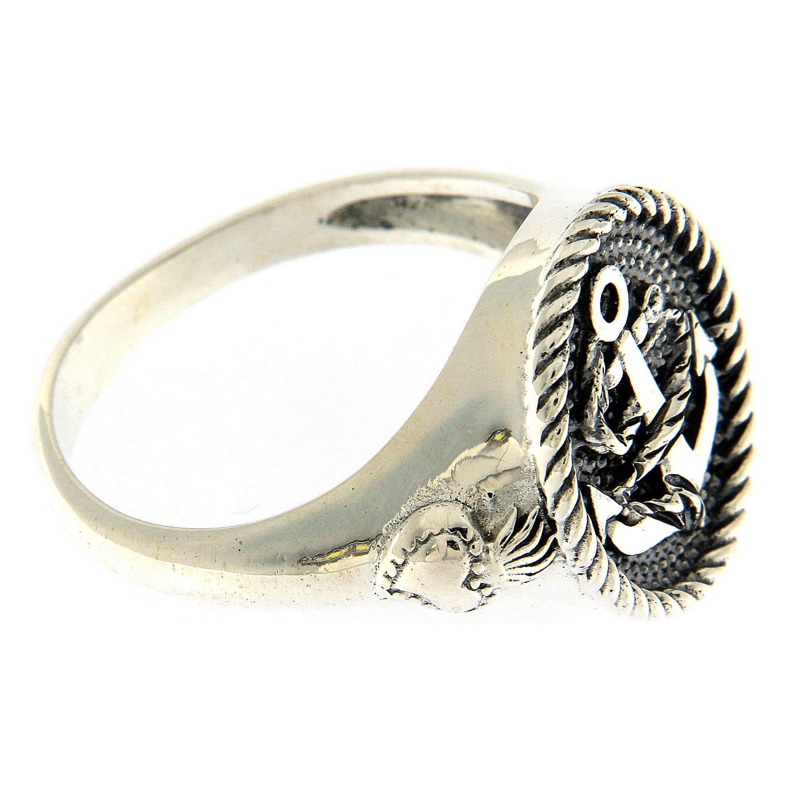 Anillo AMEN plata 925 plateada/bruñida ancla sagrado corazón 3