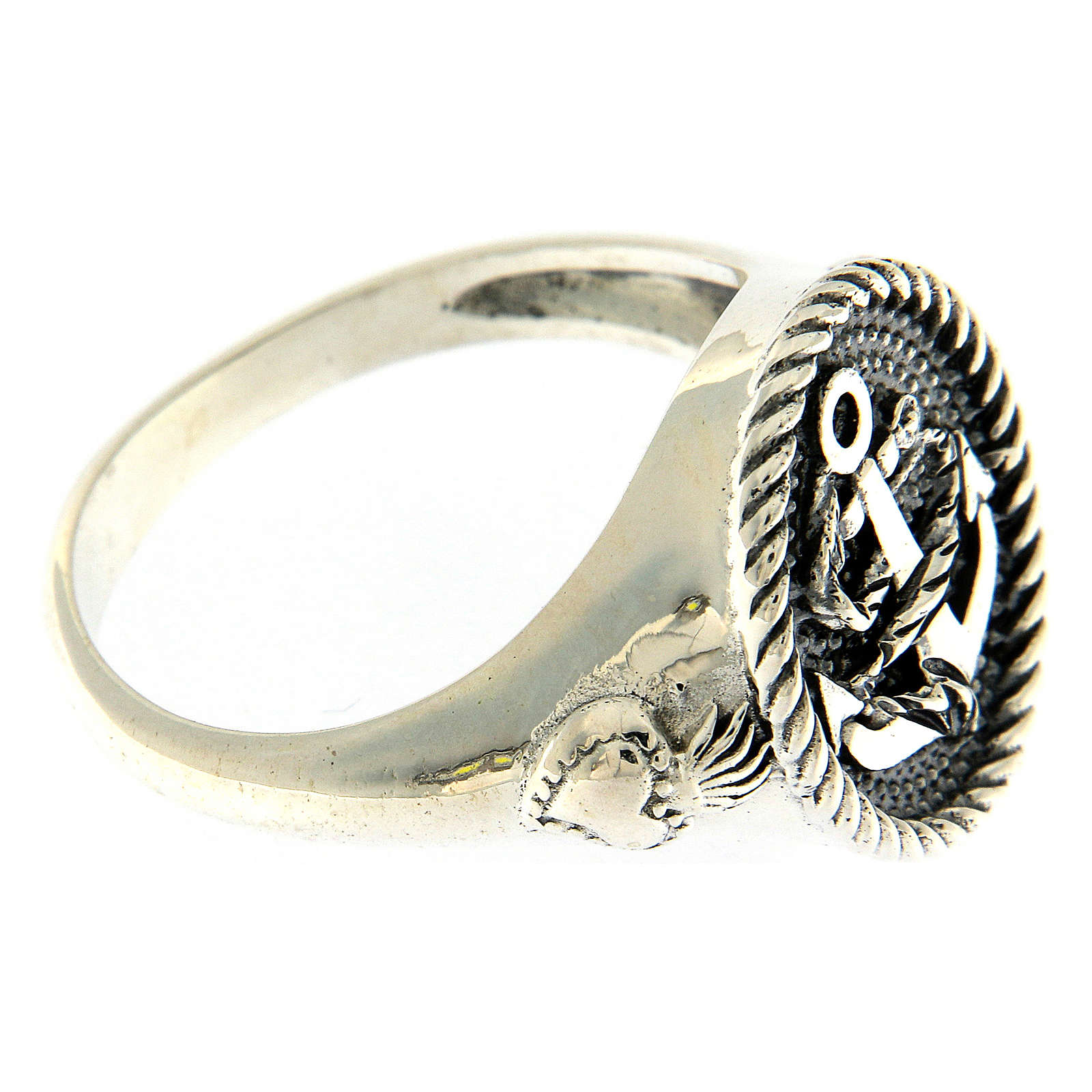 Ring AMEN in 925 burnished silver with anchor sacred heart symbols 3