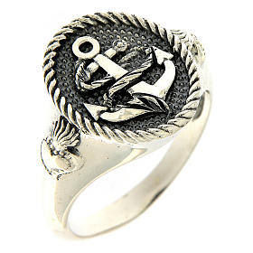 Ring AMEN in 925 burnished silver with anchor sacred heart symbols s1