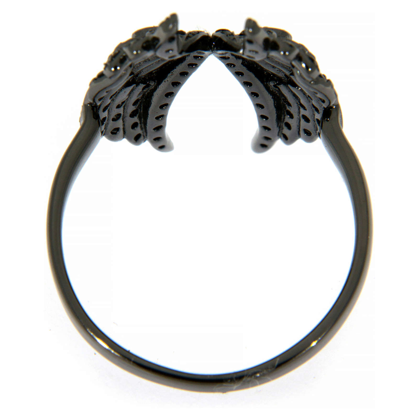 AMEN ring in 925 silver with rhodium-plated black finishing, angel wings and black rhinestones 3