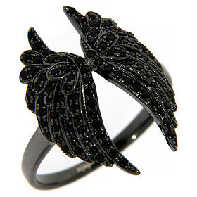 AMEN ring in 925 silver with rhodium-plated black finishing, angel wings and black rhinestones s1