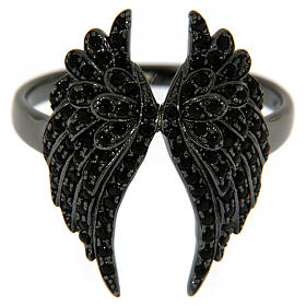 AMEN ring in 925 silver with rhodium-plated black finishing, angel wings and black rhinestones s2