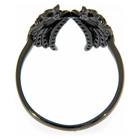 AMEN ring in 925 silver with rhodium-plated black finishing, angel wings and black rhinestones s3