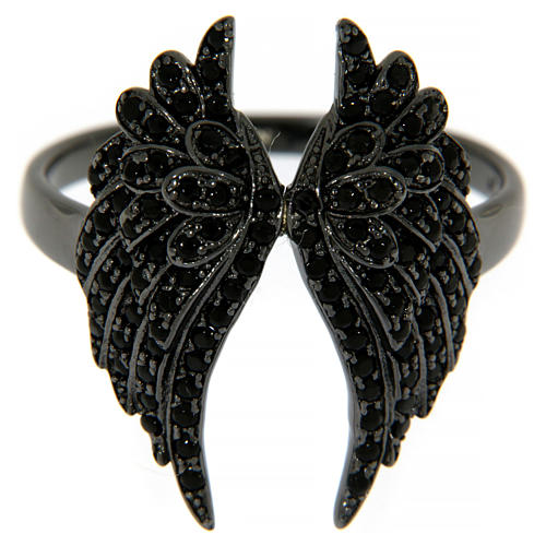 AMEN ring in 925 silver with rhodium-plated black finishing, angel wings and black rhinestones 2