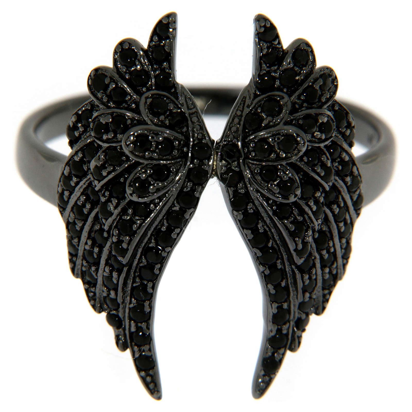Anello AMEN arg 925 rodiato nero ali angelo zirconi neri 3