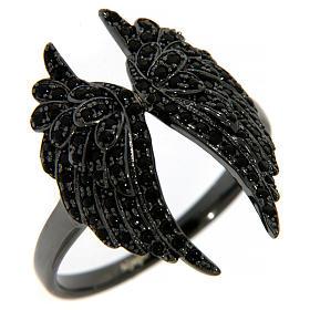 Anello AMEN arg 925 rodiato nero ali angelo zirconi neri s1