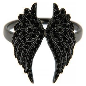 Anello AMEN arg 925 rodiato nero ali angelo zirconi neri s2