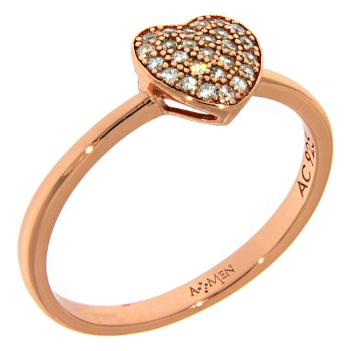 AMEN ring in 925 silver with pink finishing, heart and white rhinestone 1