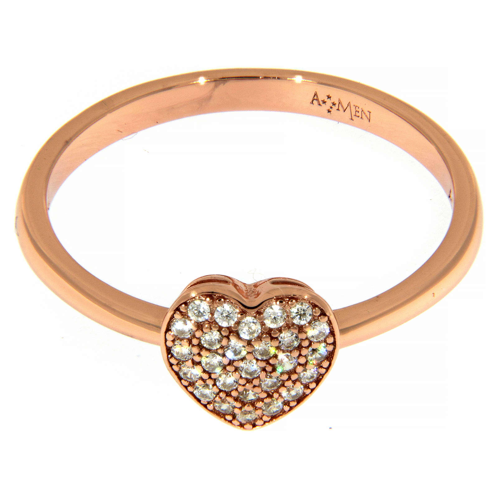 Anillo AMEN plata 925 rosada corazón zircones blancos 3