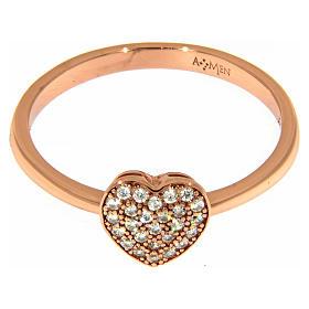 Anello AMEN argento 925 rosé cuore zirconi bianchi s2