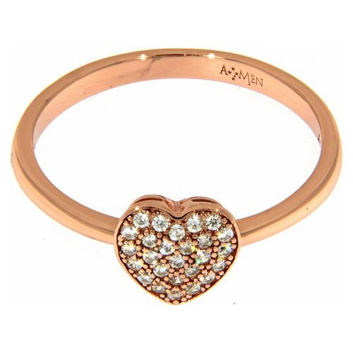 Anello AMEN argento 925 rosé cuore zirconi bianchi 2
