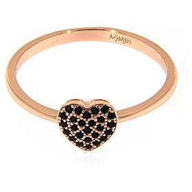 Anillo AMEN plata 925 rosada corazón zircones negros s2