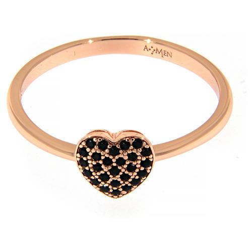 Anillo AMEN plata 925 rosada corazón zircones negros 2