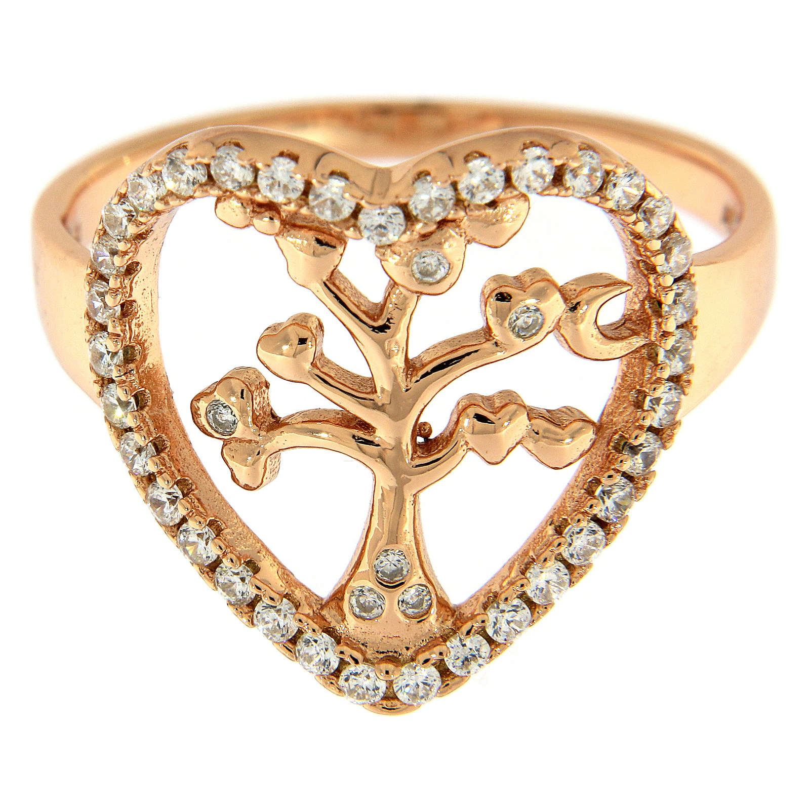 Anello AMEN arg 925 rosé albero della vita zirconi bianchi 3