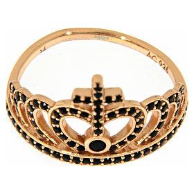 Anillo AMEN plata 925 rosada corona zircones negros s2