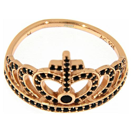 Anillo AMEN plata 925 rosada corona zircones negros 2