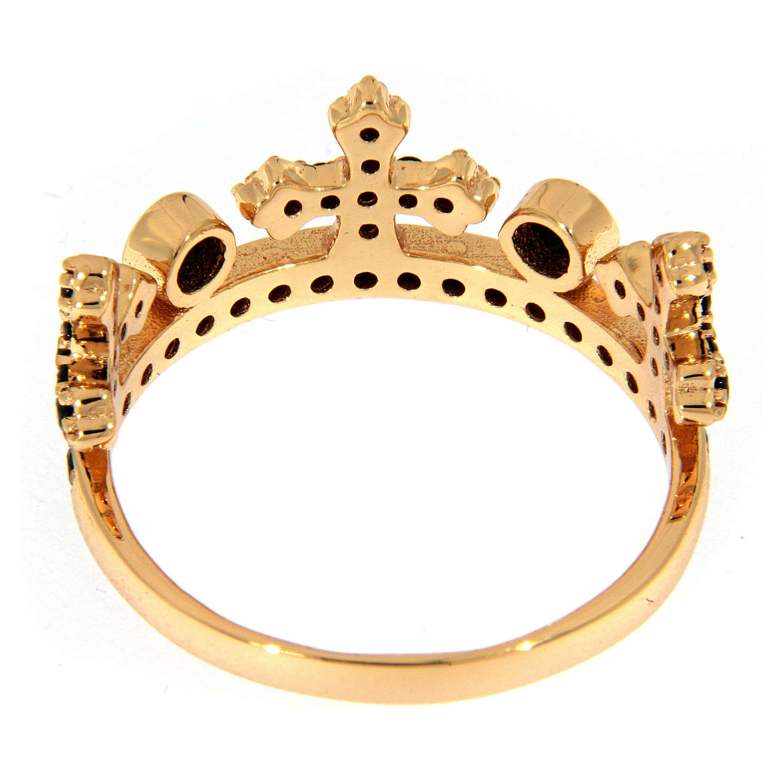 AMEN ring in 925 silver with pink finishing, three-pronged crown and black rhinestones 3