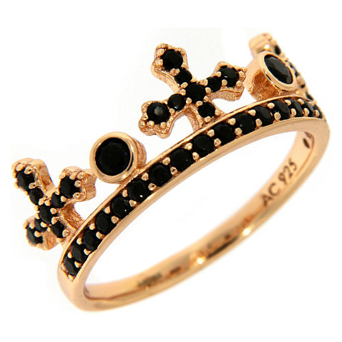 AMEN ring in 925 silver with pink finishing, three-pronged crown and black rhinestones 1