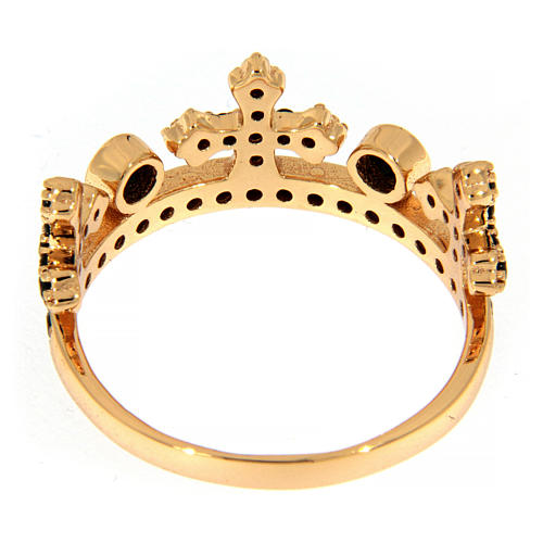 AMEN ring in 925 silver with pink finishing, three-pronged crown and black rhinestones 4