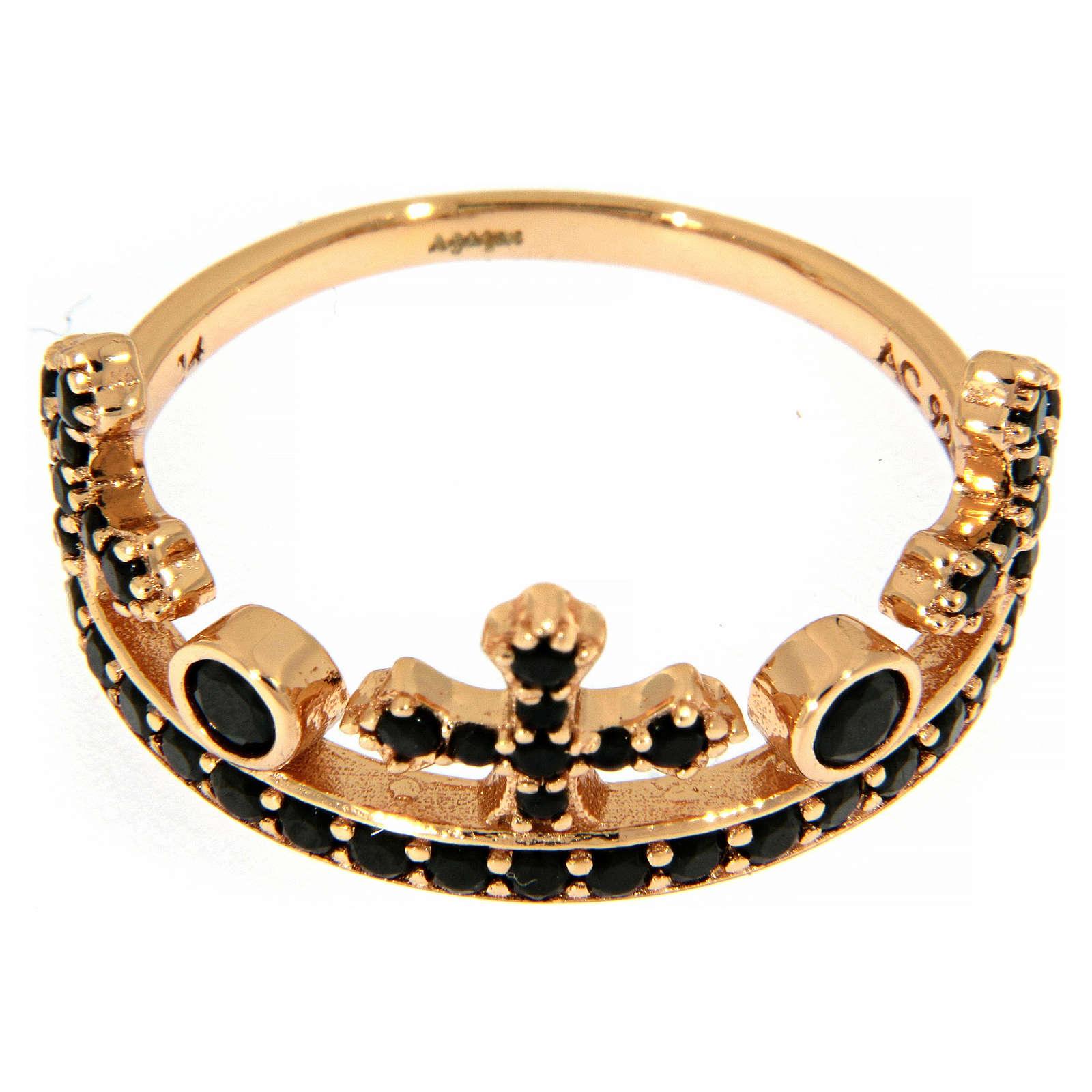 Anillo AMEN plata 925 rosada corona tres puntas zircones negros 3