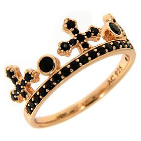 Anillo AMEN plata 925 rosada corona tres puntas zircones negros s1