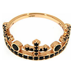 Anillo AMEN plata 925 rosada corona tres puntas zircones negros s2
