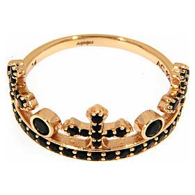Anel AMEN prata 925 rosé coroa três pontas zircões pretos s2