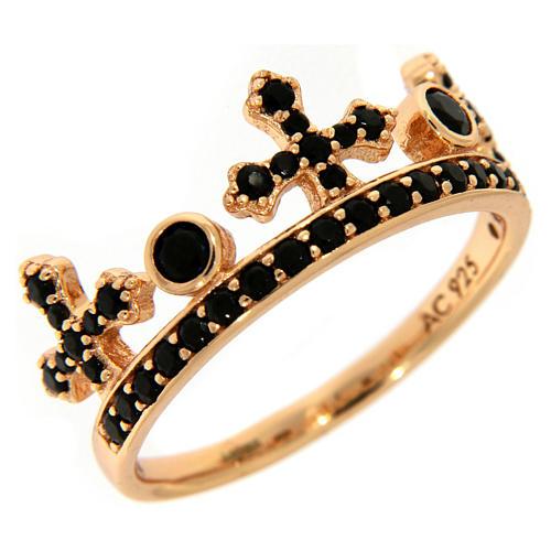 Anel AMEN prata 925 rosé coroa três pontas zircões pretos 1