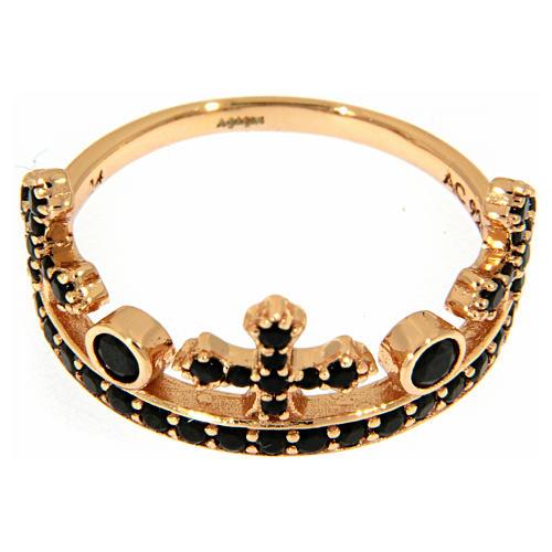 Anel AMEN prata 925 rosé coroa três pontas zircões pretos 2